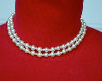 Marvella Faux Pearl and AB Bead Necklace Vintage