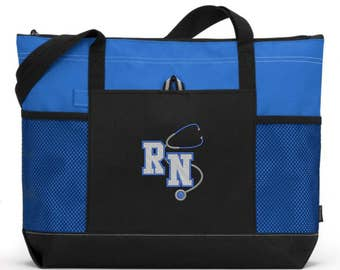 Nurse Bag/ RN Nurse Tote Bag/ Nurse Gift/ Embroidered RN With Stethoscope Royal Blue Nurse Tote Bag/ RN Nurse Gift