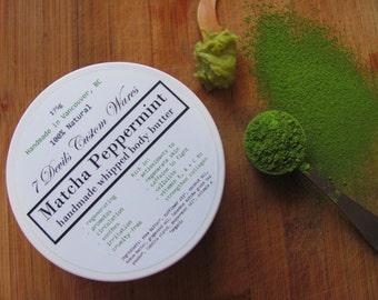 Matcha Peppermint Whipped Body Butter - All Natural Green Tea Mint Antioxidant Tea Cream, Vegan