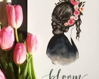Silhouette with flower crown and braids/ Bloom/  fashion illustration/ watercolor/ art print