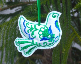 Christmas ~ Holiday ~ Wreath ~ Gift White Reclaimed Linen Stuffed Bird Ornament ~  Machine Embroidered