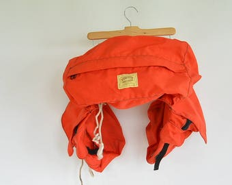 Canvas Saddle Bag Horse Back Riding Bag Orange Canvas Buckstitch Canvas & Leather Made in Wyoming USA
