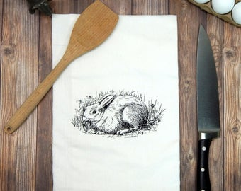 Bunny Tea Towel, Rabbit Tea Towel