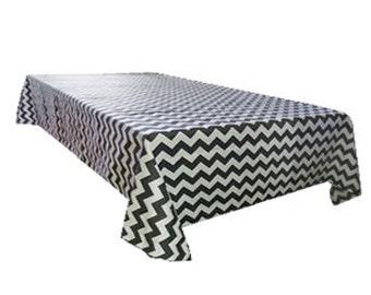 ArtOFabric Decorative Cotton Tablecloth in 1/2 Inch Chevron Print