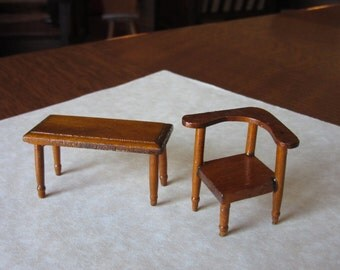 Extra Small Scale Miniature Doll House Corner Chair and Coffee Table, Wood Dollhouse Living Room Furniture, Colonial Corner Chair, Table