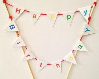 Rainbow Children's Birthday Party Cake Topper Bunting Decoration