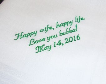 Personalized Handkerchief For Your Groom, Happy Wife Happy Life -15 Words or Less - FREE Gift Box - Embroidered Handkerchief - Men's Hanky