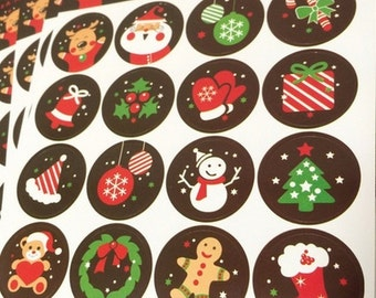 32 Stickers Labels Round with Christmas pattern.  Color Shiny  30mm gift tag
