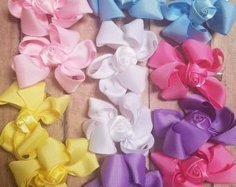 Baby pastel pigtails. Pastel bows. Hair bow sets. Miniature bows with rosettes. Doing hair bows. Little bpytiqye hair bows. Pick your color