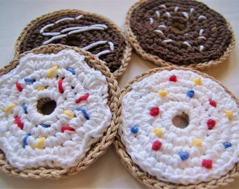 Coffee and Donuts | Set of 4 Crocheted Coasters