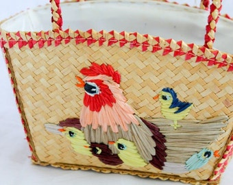 Vintage 1960s Novelty Woven Cane and Raffia Girls Bag with Chicken and Baby Chick Motif Easter