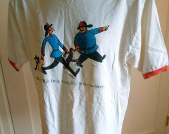 Vintage 90s Curious George T Shirt White
