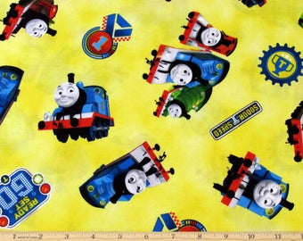 Thomas the Train Fabric Steam Team Yellow Fabric From Quilting Treasures