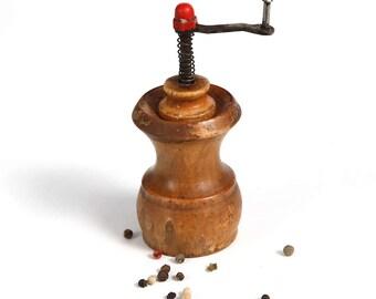 Old Vintage Pepper mill Grinder, Barrel Shape Pepper Grinder, Bulgarian Pepper Mill 1970's