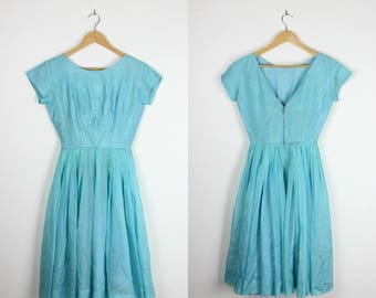 1950s Turquoise Blue Prom Dress 50s 60s Vintage