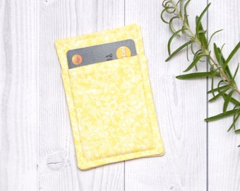 Yellow thin wallet, Minimalist wallet, Business card holder, Business card case - Slim card wallet - Gift card case - Womens Mens