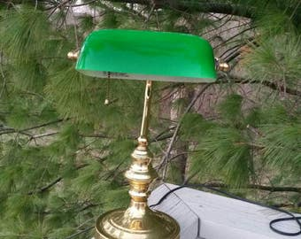 Bankers Lamp Vintage with Brass Base and Neck Green Shade