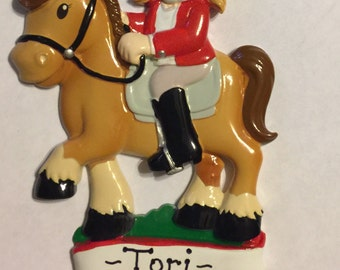 Personalized equestrian Christmas ornament