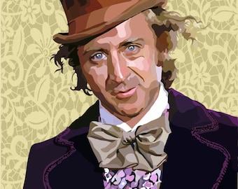 Gene Wilder.... Willy Wonka Digital Art Print....