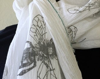 White Gauze Scarf, Scarf for Women, Block Print Scarf, Bee Design, Fashion Scarf, Summer Scarf, Fringe Scarf, Lightweight Scarf