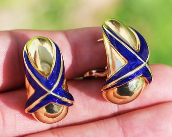 Mavito Blue Enamel 18kt Yellow Gold X Earrings French Clip
