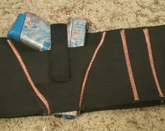 Custom Ladies Concealed Hip Hugger Waist Decorative Embroidery Gun Holster Glow in Dark and Solar Thread available