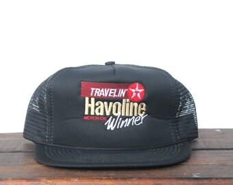 Vintage Texaco Travelin' Havoline Motor Oil Winner Gas Station Racing Trucker Hat Snapback Baseball Cap