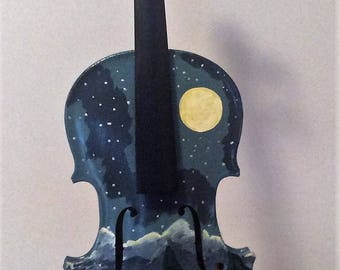 Painted violin night scene