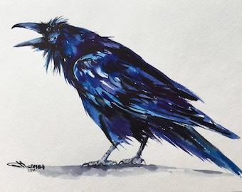 Cawing Crow, Raven, Black Bird ORIGINAL WATERCOLOR PAINTING