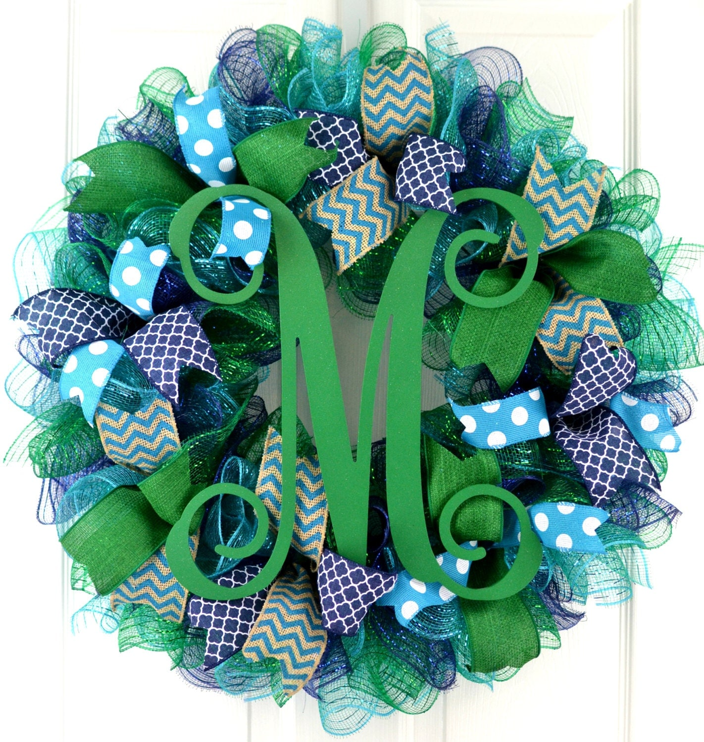 Front door wreath - Everyday wreath - Monogram wreath - Navy blue wreath - Year round wreath - Kelly green wreath - Monogram door wreath
