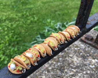 Miniature Polymer Clay Realistic Taco Charms / Keychains