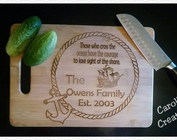 Featured listing image: 3 Sizes Personalized Laser Engraved Bamboo Cutting Board, Cheese Board, House Warming