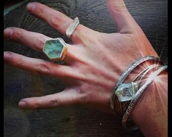 Aquamarine slice ring / silver raw crystal ring / handmade jewelry