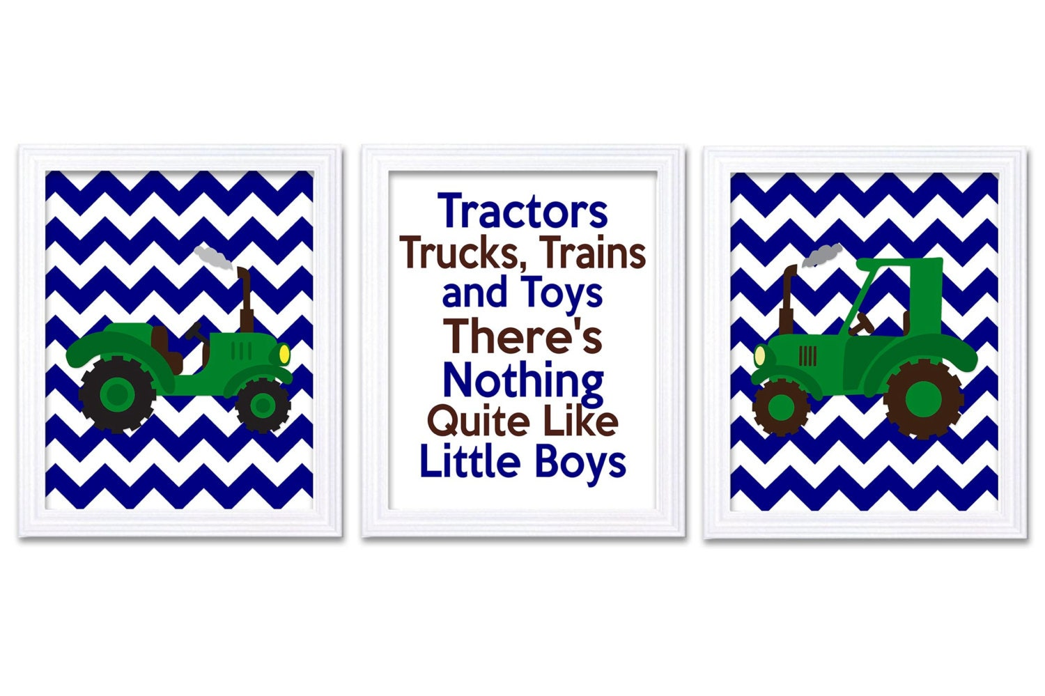 Nursery Art Tractors Trucks and Toys Theres Nothing Quite Like Little Boys Print Set of 3 Green Grey