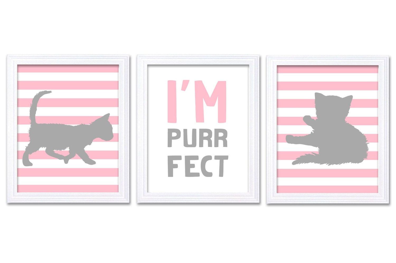 Cat Nursery Art Kitten Prints Set of 3 Prints Pin Grey Gray Stripes Im Purrfect Baby Kids Children G