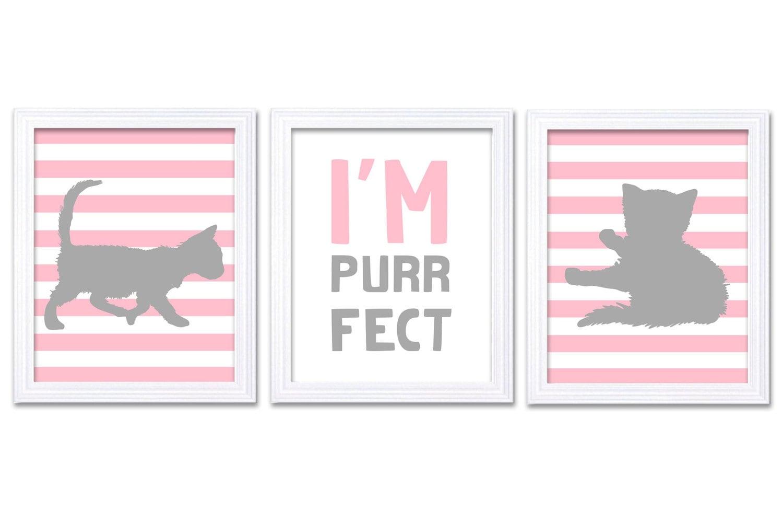 Cat Nursery Art Kitten Prints Set of 3 Prints Pin Grey Gray Stripes Im Purrfect Baby Kids Children G