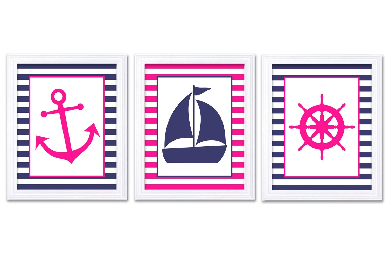 Nautical Nursery Art Ocean Marine Hot Pink Navy Blue Girl Art Print Sailboat Captain Wheel Anchor Nu