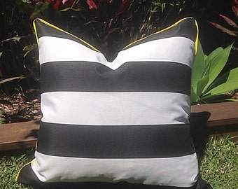 Black and White Striped Outdoor Cushions,  Stripe, Stripe Pillows Outdoor Cushions Scatter Cushions Modern Retro Pillows