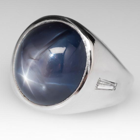 Exceptionnel Mens saphir bague 17 Carat bleu saphir étoilé Cabochon avec JZ02