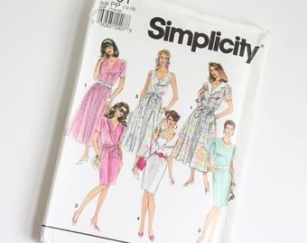 SIZE 12 - 18 7791 Simplicity Women's Dress UNCUT Sewing Pattern Vintage 1990s Nineties Neckline & Sleeve Variations Elastic Waist