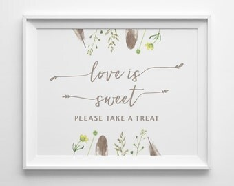 Bohemian Wedding Decor, Boho Wedding Signs, Love Is Sweet Please Take A Treat Sign, Flowers Feathers Floral Dessert Sweet Table Sign, WS3T