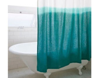 Aberdene - Ombre dip dyed cotton Shower curtain- Cyan