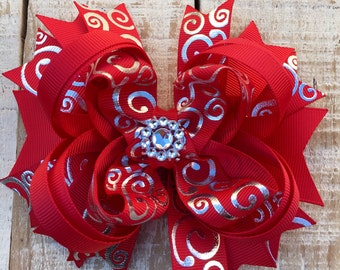 Red Hair Bow- Red Silver Hair Bows- Holiday Headband