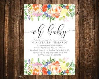 Oh Baby Citrus Watercolor Floral Baby Shower Invitation; Watercolor; Printable or set of 10