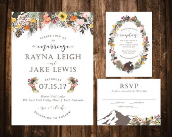 Summer Mountain Floral Wedding Invitations; Printable OR set of 25