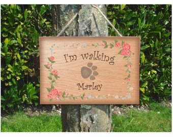 DOG WALKING Rustic Sign: Custom-Made Personalised Wooden Hanging Plaque
