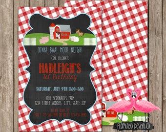 Old Mcdonald's Farm Birthday Invitation - Cow Birthday Invitation - Farm Invitation (digital & card stock)
