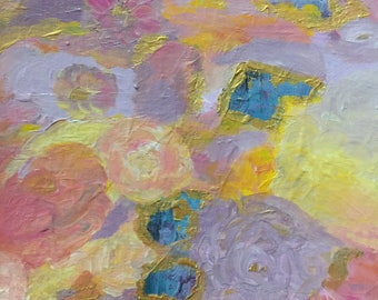 Small Original Abstract Painting Modern Wall Art Lavender Yellow Pink Home Decor Gold Contemporary Wall Decor