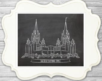 San Diego Temple Chalk Art Print, LDS Temple, LDS Art, Wall Decor, Illustration, Chalkboard