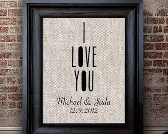 Cotton Anniversary Gift For Her | Newly Married Gift | I LOVE YOU Print | 2 Year Anniversary Gift | Gift for Spouse | Personalized Gift